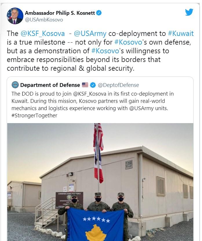 FSK në Kuvajt, ambasadori i SHBA Kosnett: Moment historik për Kosovë